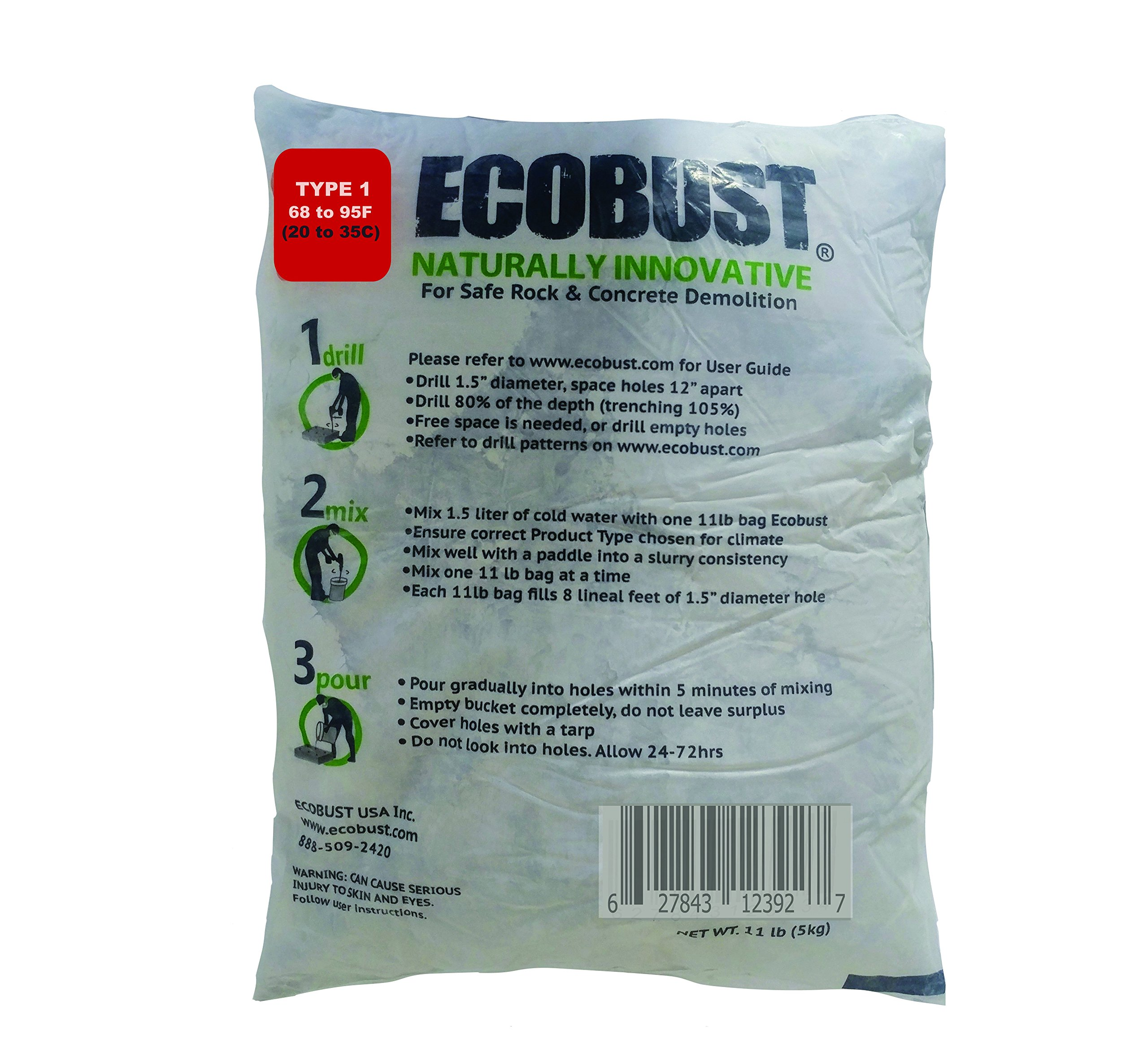 Ecobust USA Type 1 (68F to 95F) Concrete Cutting and Rock Breaking Non-Combustive Demolition Agent, 11lb (Packaging may vary)
