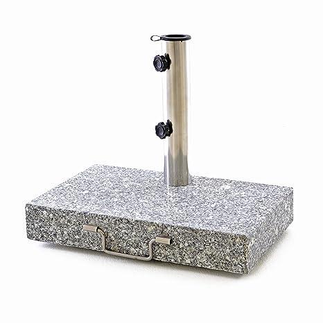 Nexos Soporte para sombrilla Granito Acero Inoxidable 25 kg Media rectangular con asa y ruedas 45