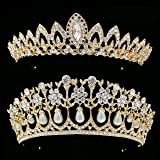Rhinestone Crystal Tiaras and Crowns Headband For Women Birthday Pageant Wedding Prom Princess Crown (Gold 2pack)