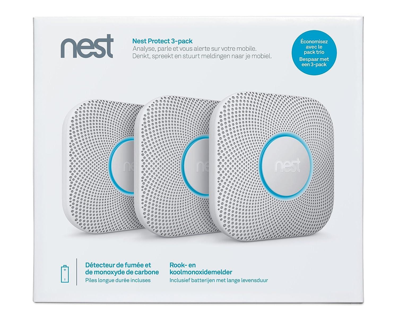 - pack de 3 Blanc /à piles Nest S3006WBFD Protect 2/ème g/én/ération: D/étecteur de fum/ée et monoxyde de carbone, Set de 3 pi/èces