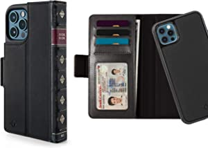 Twelve South BookBook for iPhone 12 and 12 Pro   3-in-1 Leather Wallet Case with Display Stand and Removable Magnetic Shell (Black)