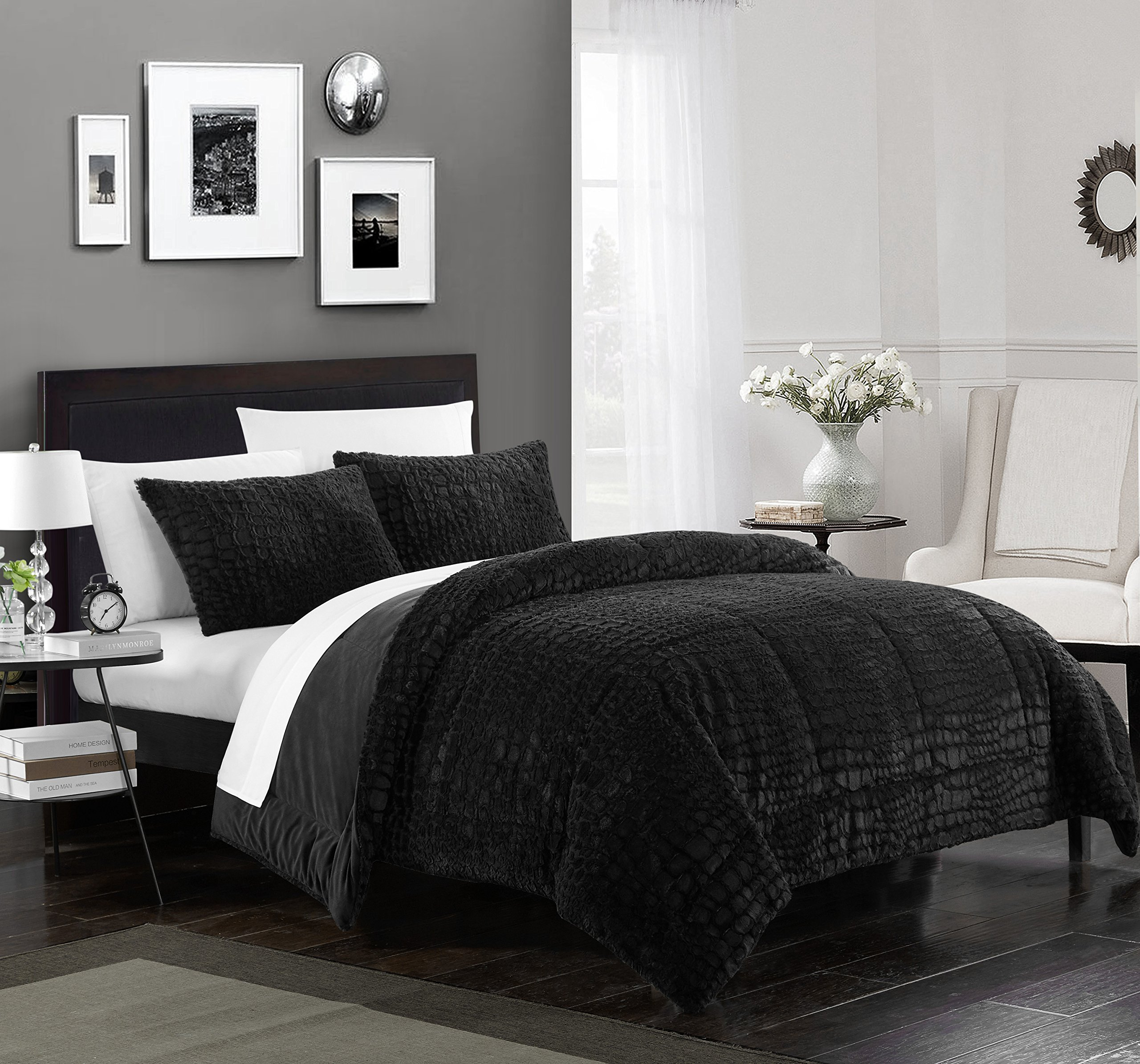 Chic Home Cayman 3 Piece Comforter Set Faux Fur Micro Mink Cayman Skin Bedding, Queen Black