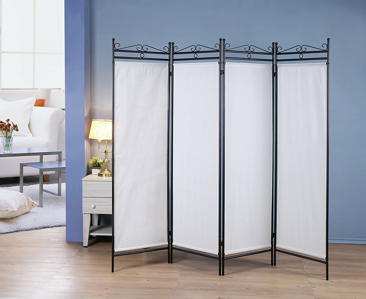 Amazon.com: 4 Panel Room Divider Privacy Screen Home Office Fabric Black  Metal Frame - Scroll Design: Kitchen & Dining - Amazon.com: 4 Panel Room Divider Privacy Screen Home Office Fabric