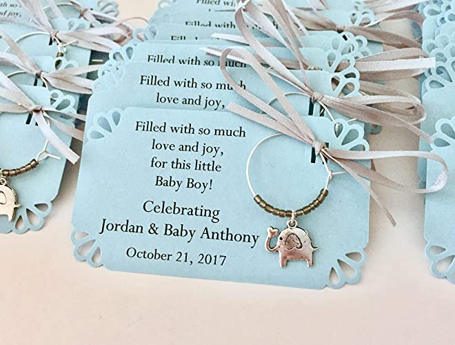 Amazoncom 1 To 150 Baby Boy Elephant Themed Wine Charms For Baby