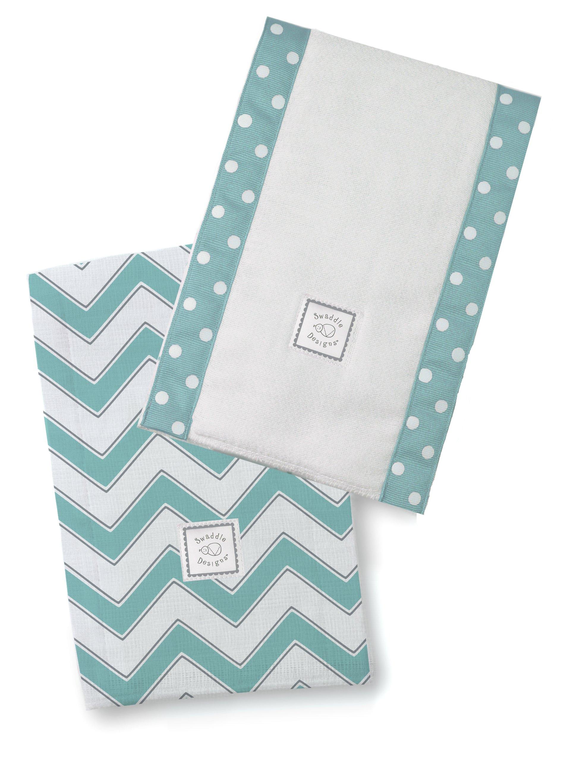 SwaddleDesigns Baby Burpies, Set of 2 Cotton Burp Cloths, Turquoise Chevron
