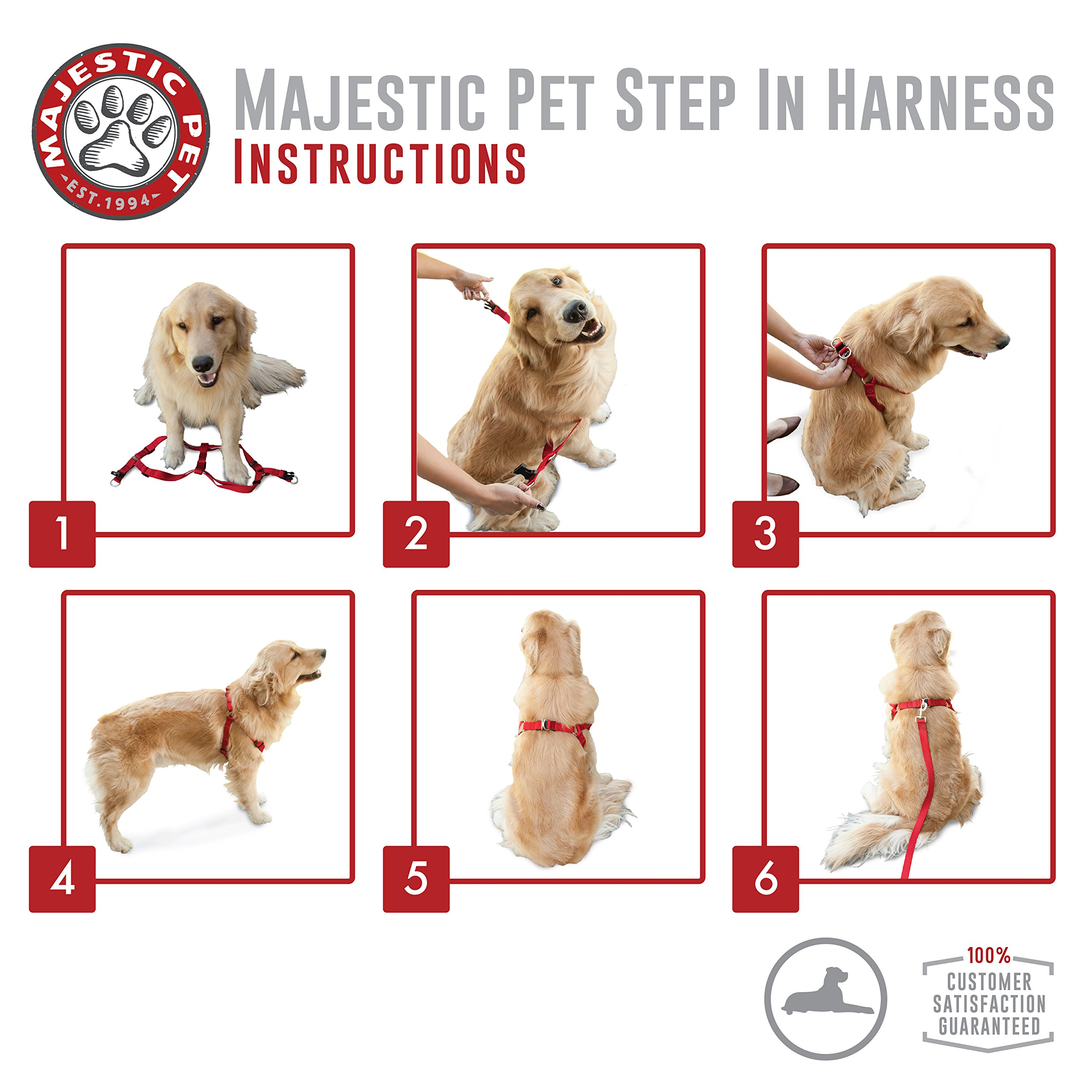 Majestic Pet Best Step In Dog Harness-Perfect For All Sized Dogs Small Medium & Large Heavy Duty Material- Adjustable For Training & Walking-25X40 Green by Majestic Pet (Image #4)
