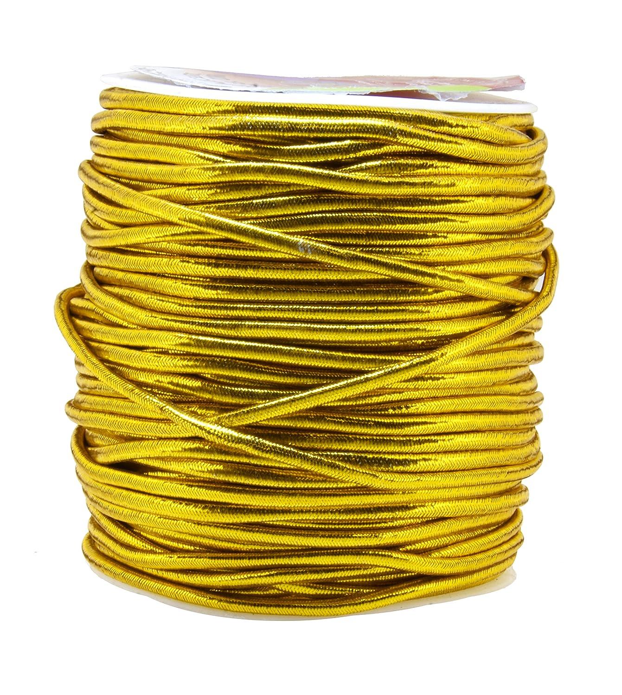 Mandala Crafts 1mm 1.5mm 2.5mm Jewelry Making Gift Wrap Ribbon Stretch Metallic Tinsel Elastic Cord (1mm 109 Yards Light Gold) 4336807609