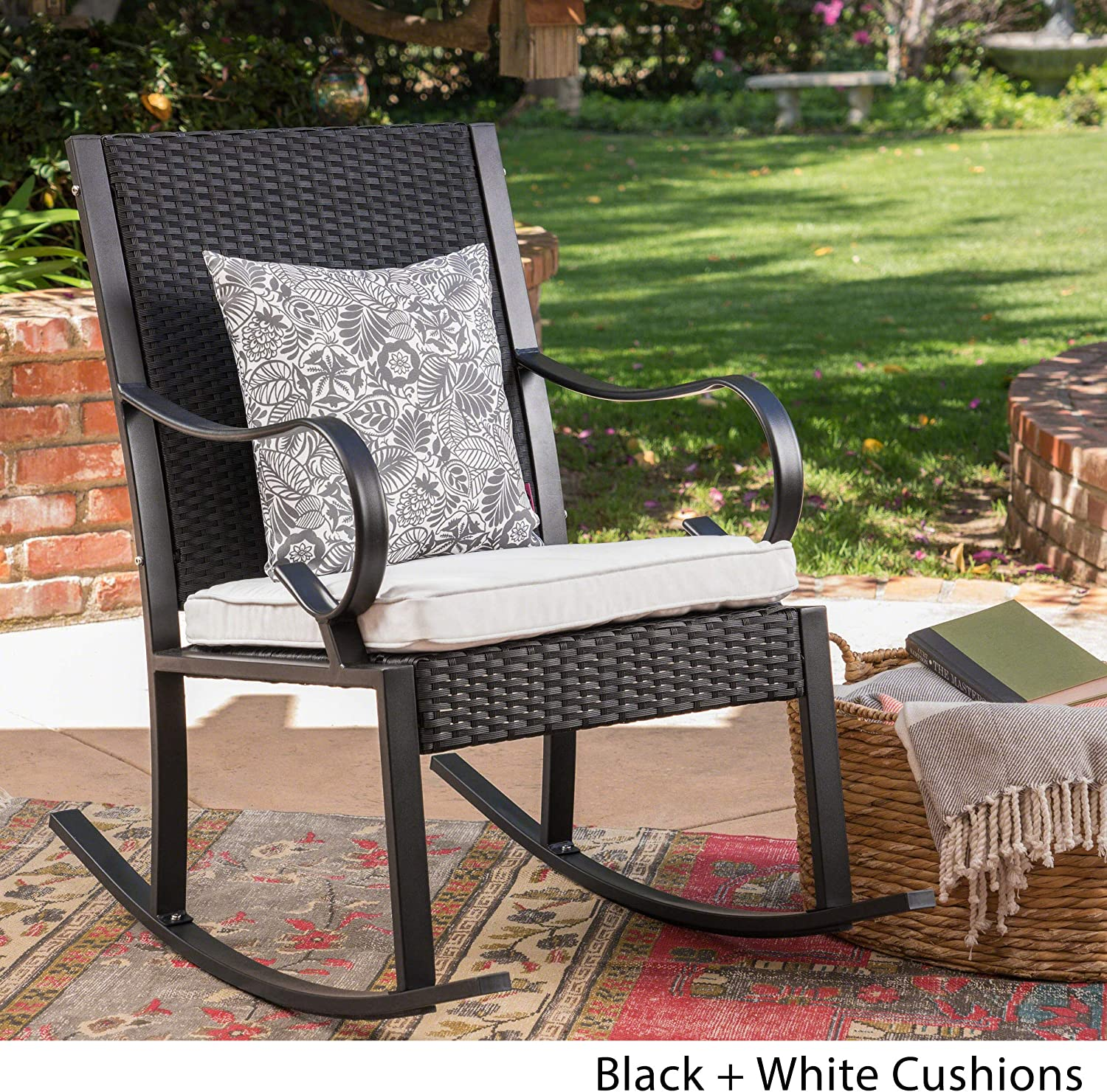 Black and White Christopher Knight Home 304345 Muriel Outdoor Wicker Rocking Chair with Cushion