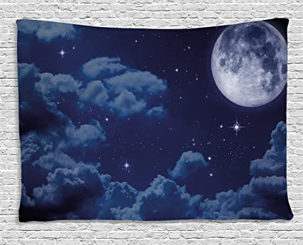 Ambesonne Night Sky Tapestry By Cartoon Anime Scene Inspired Full Moon Lunar Clouds And Stars Artwork Wall Hanging For Bedroom Living Room Dorm 80