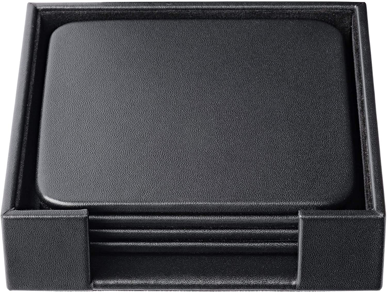 Dacasso Black Leather 4-Square Coaster Set