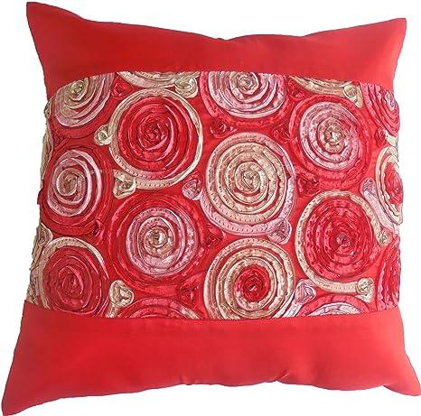 Flores flores rosas rojo almohada funda de cojín cojín 41,5 ...