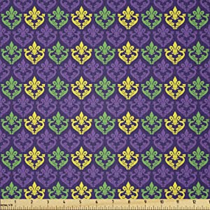 Ambesonne Mardi Gras Fabric by The Yard, Antique Old Fashioned Motifs in Mardi Gras Holiday Colors Tile Pattern, Stretch Knit Fabric for Clothing Sewing and Arts Crafts, 1 Yard, Purple Yellow