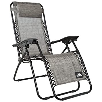 trespass glenesk grey marl reclining garden chair with padded head rh amazon co uk
