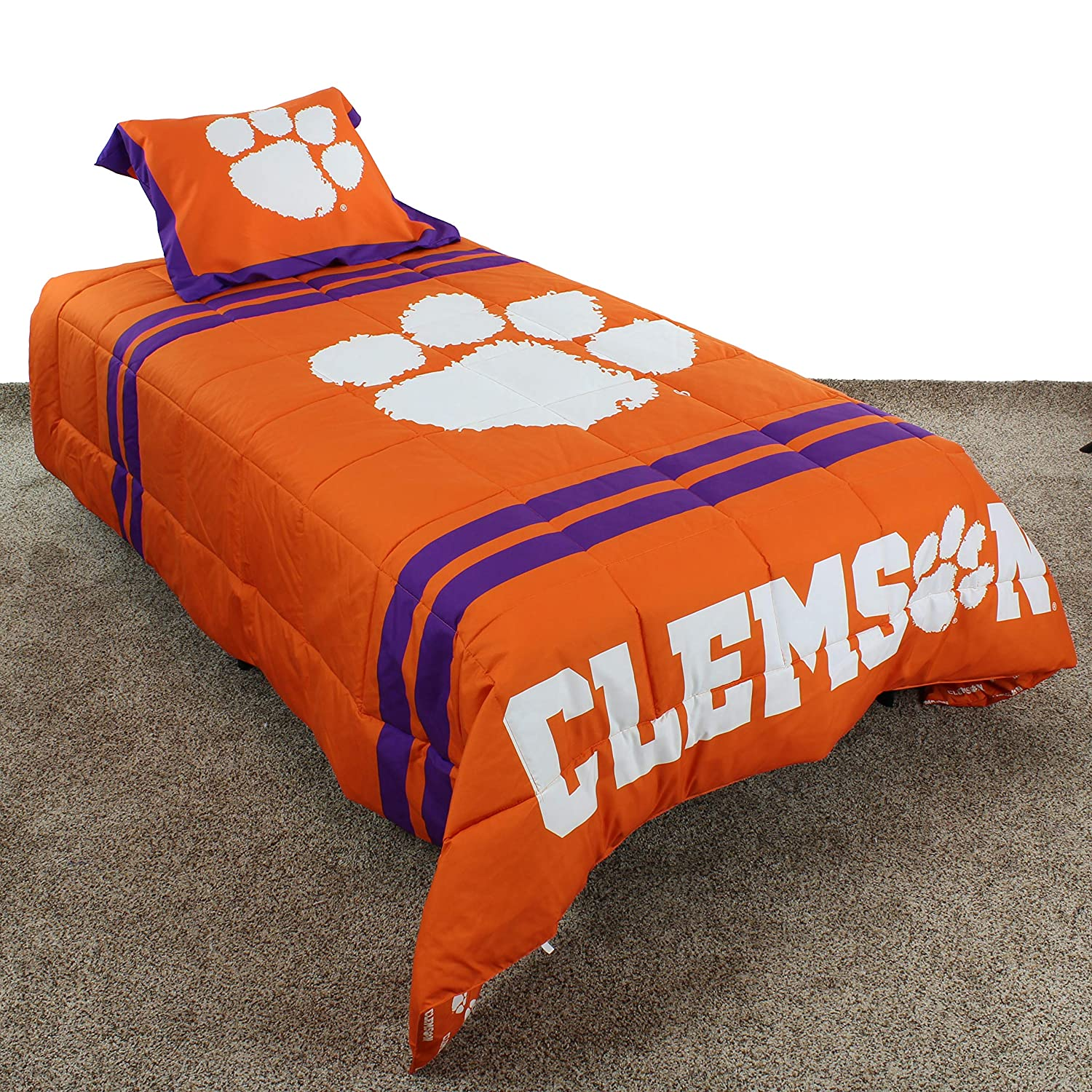 College Covers Clemson Tigers Comforter Set, Twin Team Color