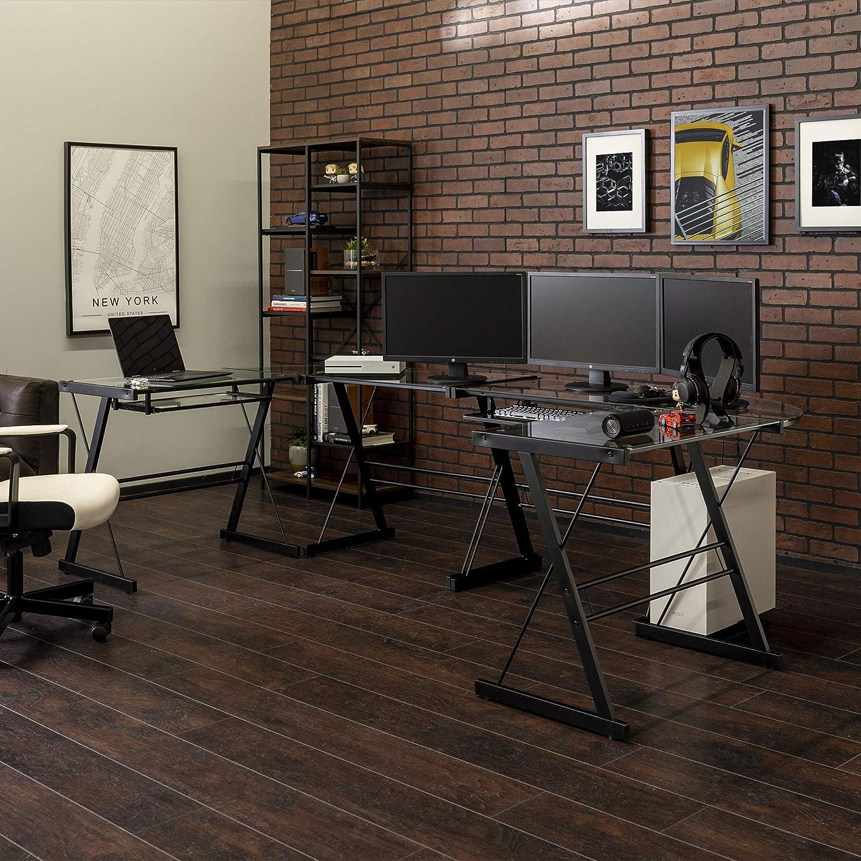 Walker Edison Modern Corner L Shaped Glass Computer Writing Gaming Gamer Command Center Workstation Desk Home Office, 2 Pack, Black
