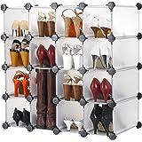 VonHaus 16x Interlocking Storage Shelves - White | Make into Any Size and Shape | Organise Clothing, Shoes, Toys