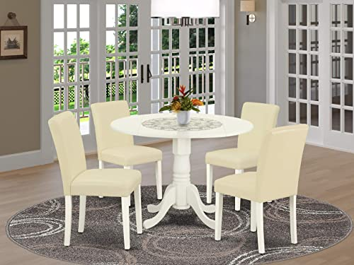 East West Furniture Set 5 Pc PU Leather Parsons Dining Room Chairs-Linen White Finish Hardwood two 9-inch drop leaves Wood Table and Frame