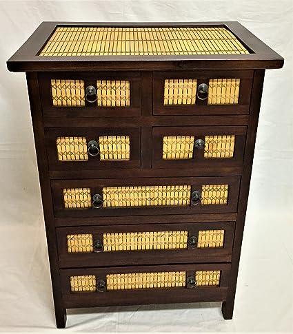 Cassettiera Etnica Madia in legno Teak e Bambù 7 Cassetti ...