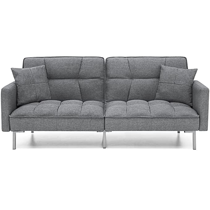 Review Best Choice Products Convertible Futon Linen Tufted Split Back Couch W/Pillows (Dark Gray)