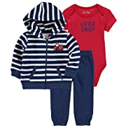 Wan-A-Beez Baby Boys' and Baby Girls' 3-Piece Jacket Bodysuit Pant Set (Firetruck, 6-9 Months)