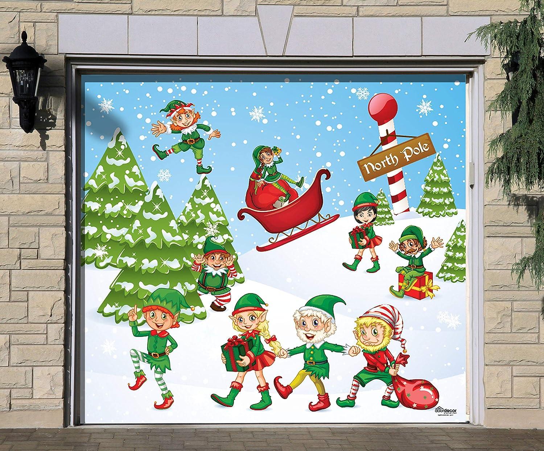 Amazon.com: Victory Corps North Pole Elves - Christmas Garage Door ...