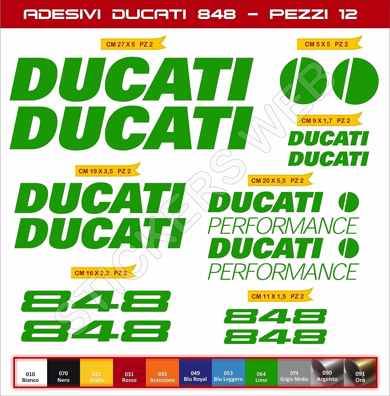 moto motorbike pegatina Cod.0587 Adesivi stickers DUCATI 848 Performance kit 12 Pezzi SCEGLI COLORE