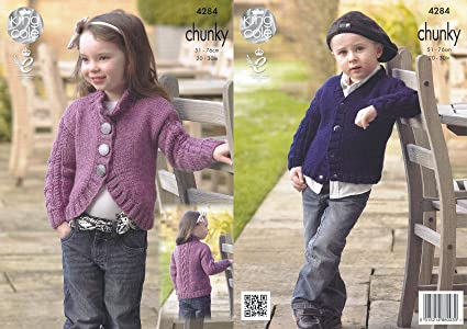 61038dc64a9bce King Cole Magnum Chunky Knitting Pattern Childrens Collar or V Neck ...