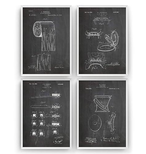 Satz von 4 Badezimmer Patent Poster - Bathroom Drunken Print Vintage ...