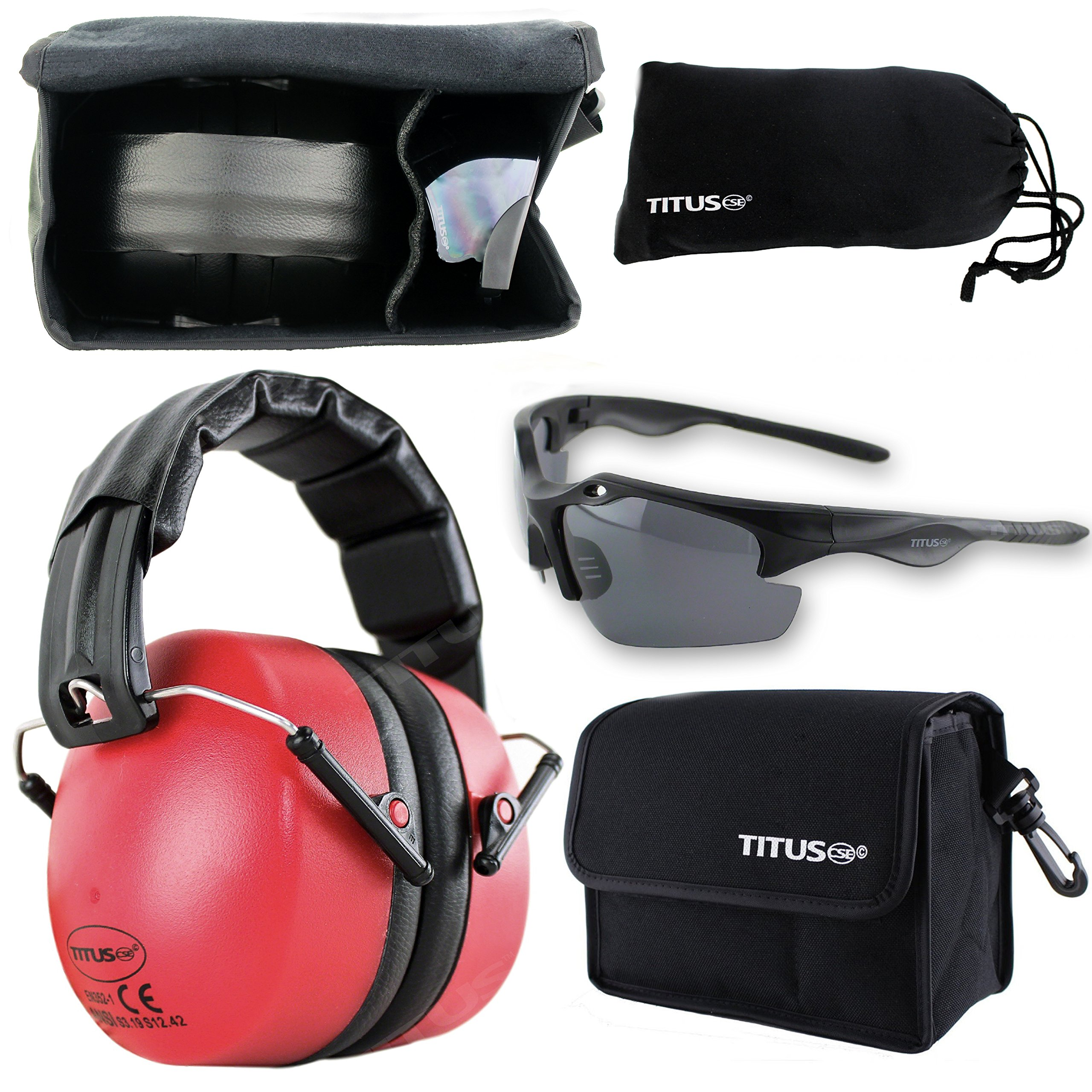 Titus 37 Decibel NRR Red Safety Earmuffs & Glasses Combo by Titus
