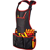 NoCry Professional Canvas Work Apron — with 16 Tool Pockets, Fully Adjustable, Waterproof & Protective, Black