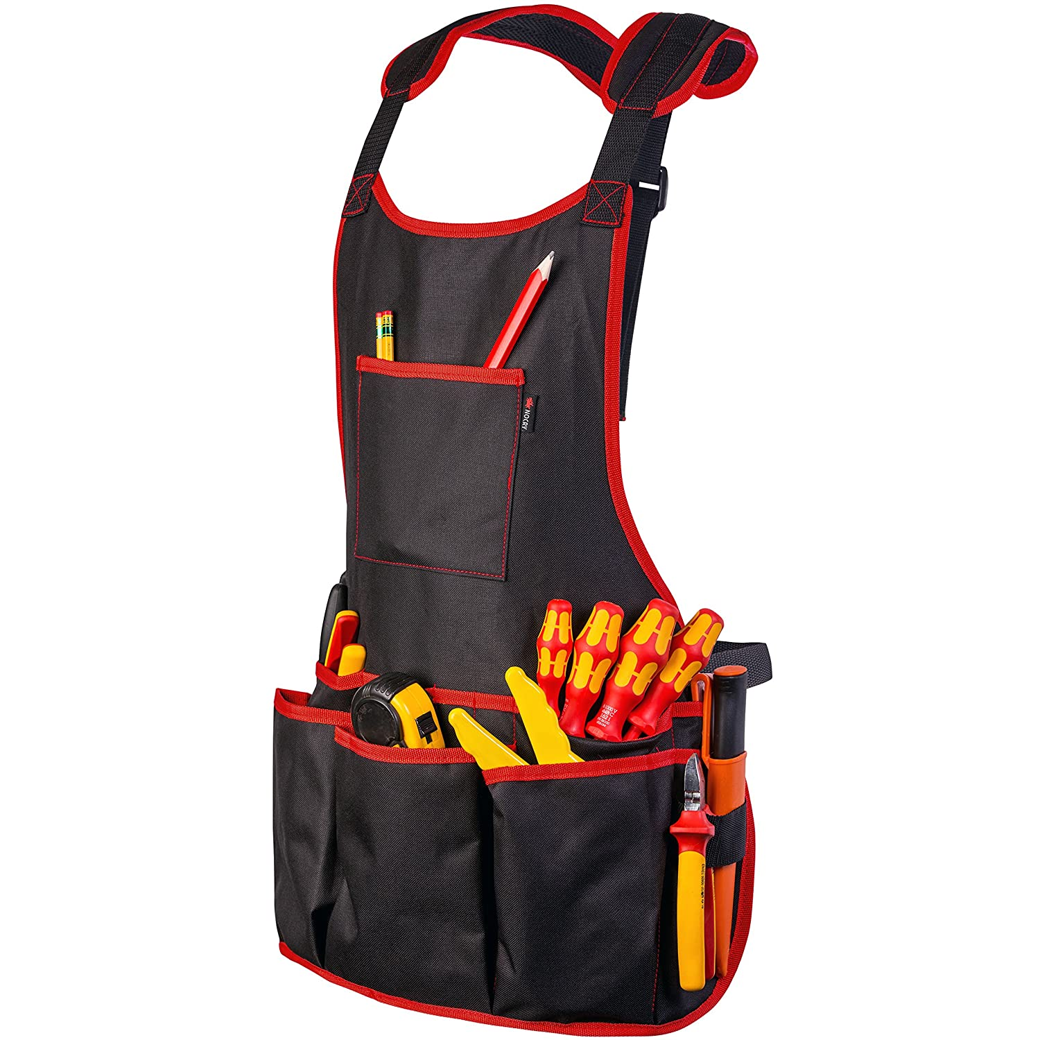 NoCry Professional Canvas Work Apron with 16 Tool Pockets Fully Adjustable Waterproof Protective Black