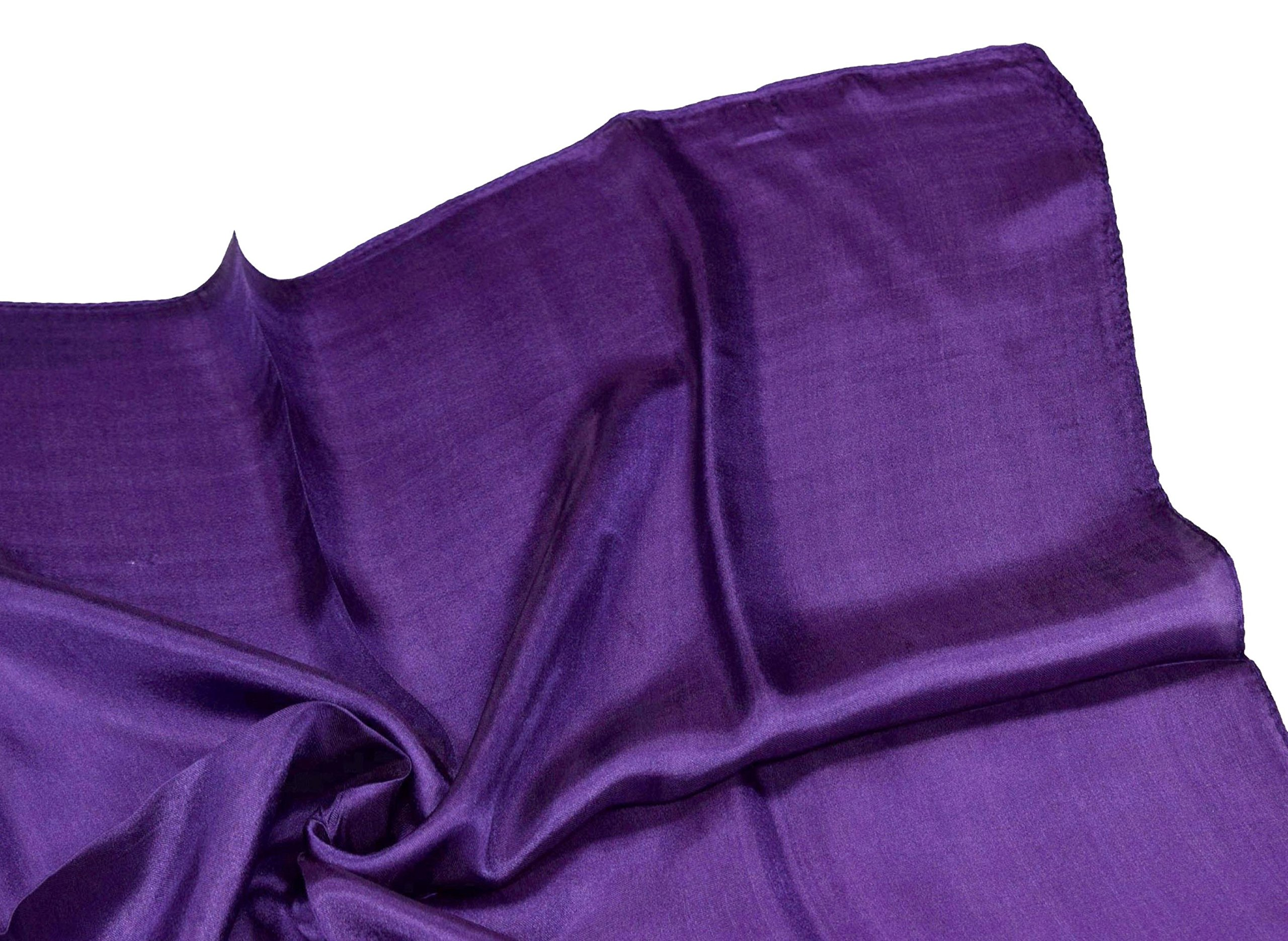Deep Purple Small Fine Silk Square Scarf by Bees Knees Fashion (Image #3)