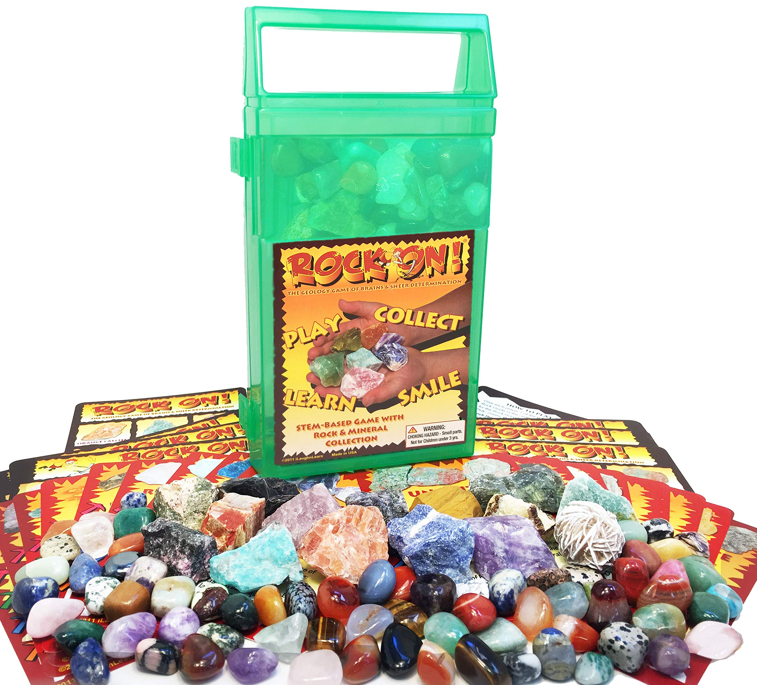 ROCK ON! Geology Game with Rock & Mineral Collection - Collect and Learn with STEM-based Educational Science Kit in Carrying Case - Amethyst, Rhodonite, Selenite Crystal, Unakite and lots more by iLaughnLearn