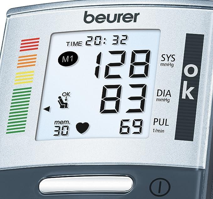 Beurer BC60 - Tensiómetro de muñeca con detección de arritmia e indicador de posición, color plateado: Amazon.es: Salud y cuidado personal