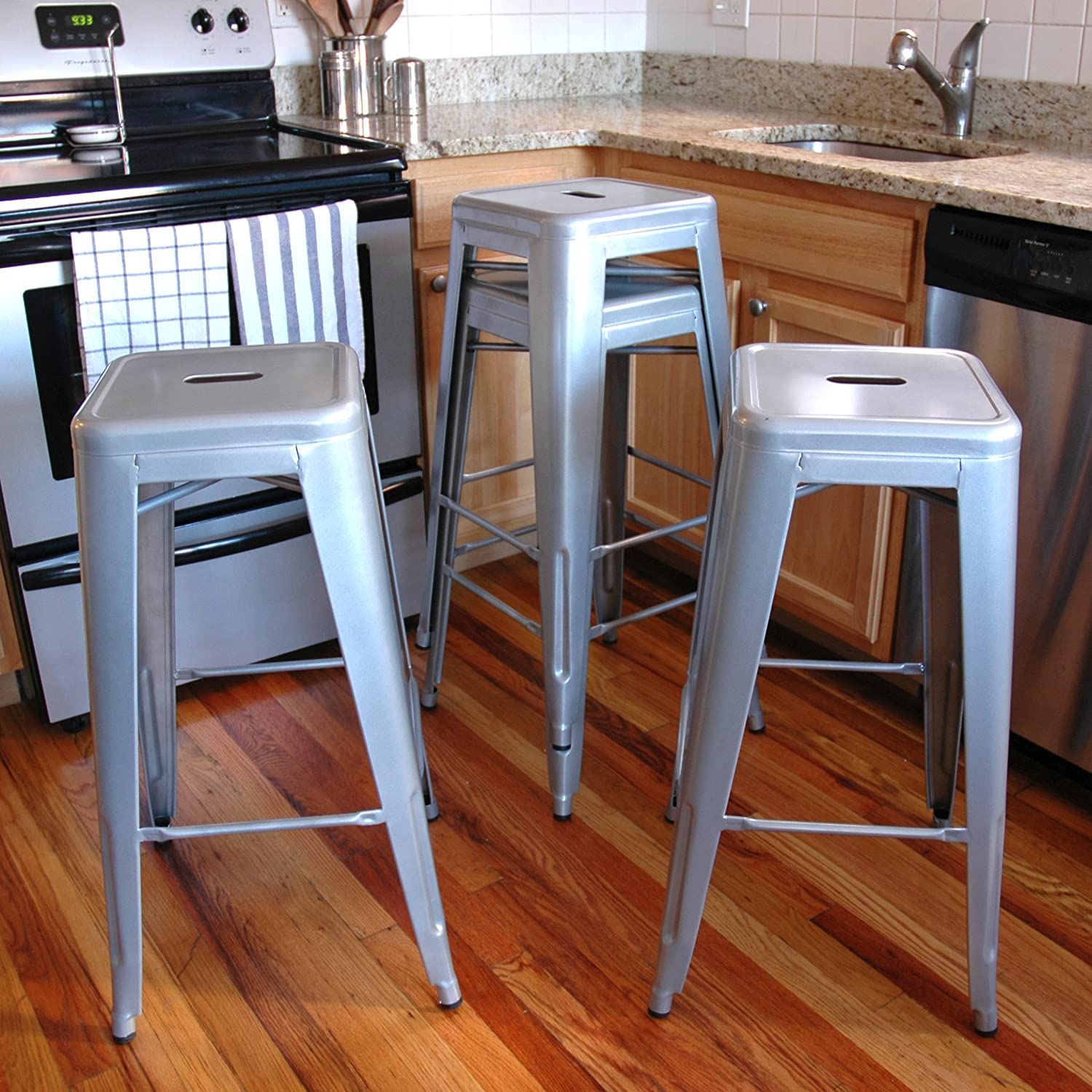 amazoncom amerihome metal bar stool set 30inch silver set of 4 kitchen u0026 dining