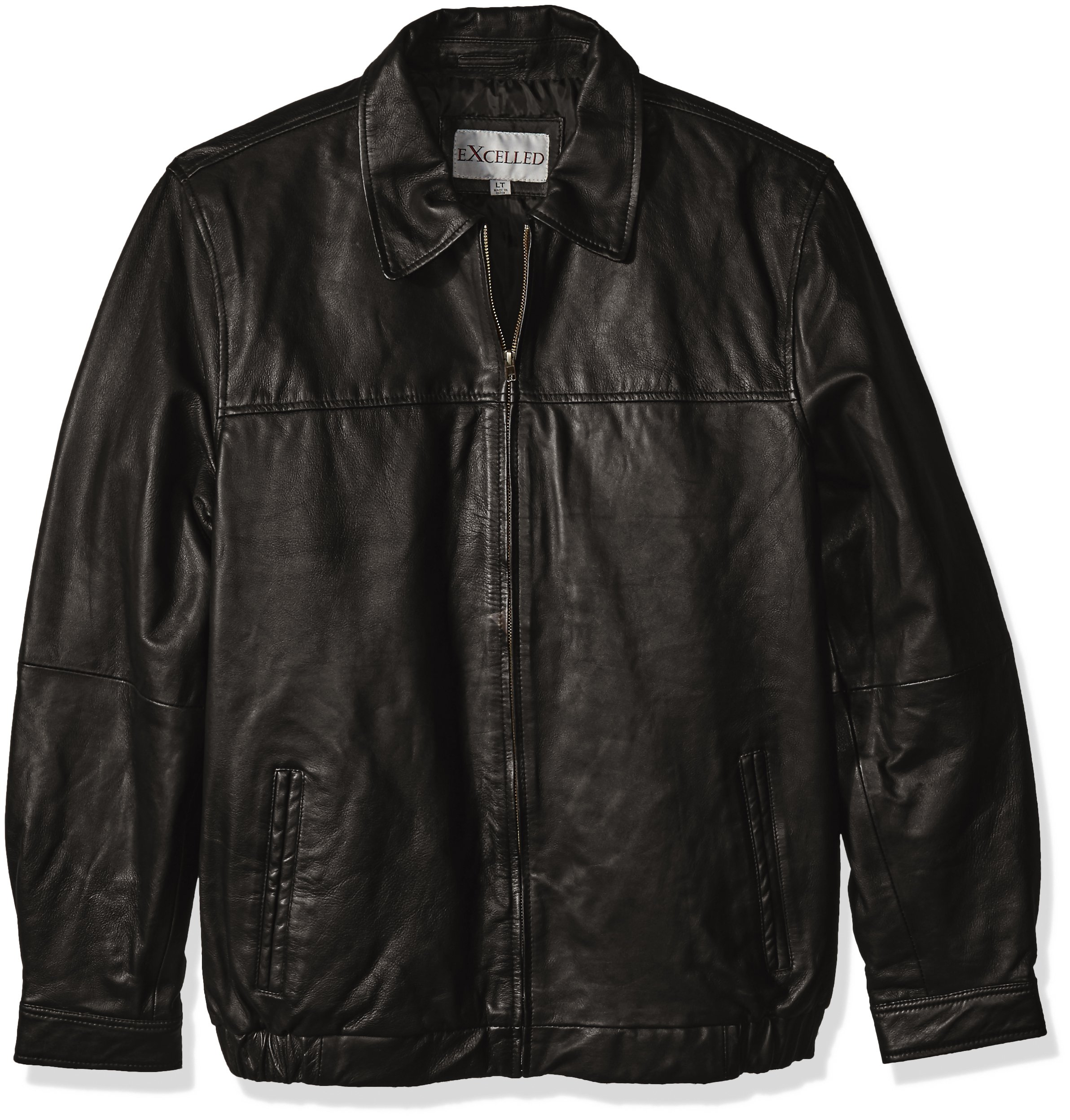 Excelled Men's Big and Tall Shirt Collar Leather Jacket, Black, 2XLT