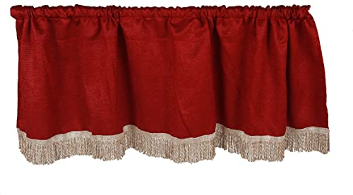 Violet Linen Luxurious Chenille Abstract Collection Window Valance, 60 x 15 , Burgundy