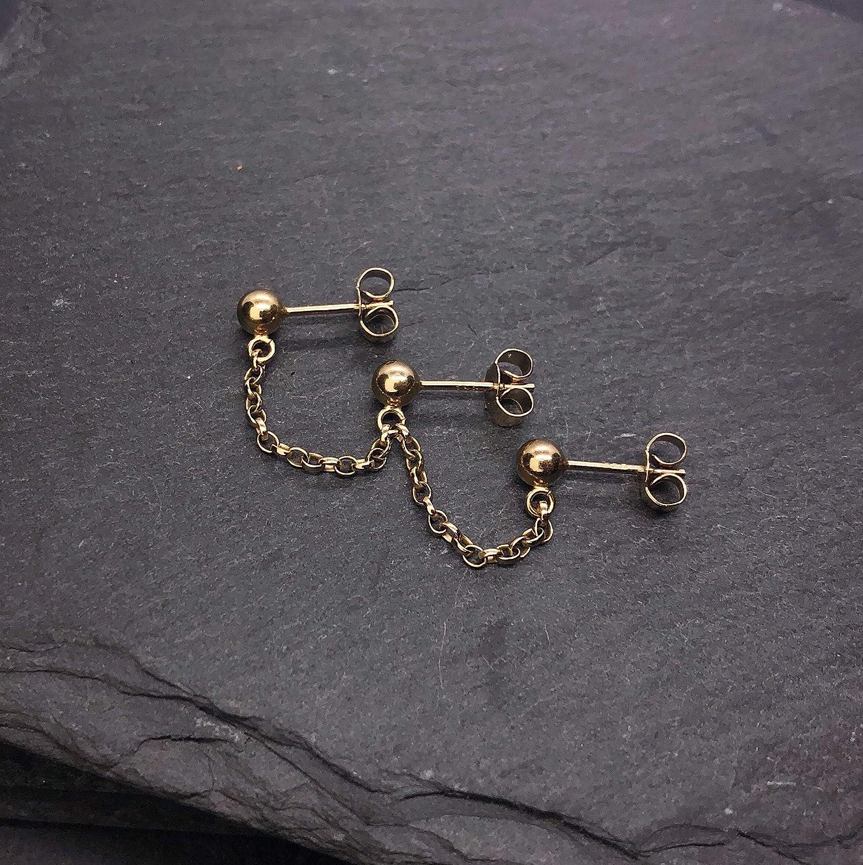 Handmade in the UK Yellow//Rose Gold Vermeil Industrial minimal chain earring- Dainty Ear Climber Triple stud earlobe piercing