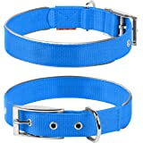 COLLAR Nylon Reflective Dog Adjustable Dog with Metal Buckle - Heavy Duty Small Medium Large Dogs Puppy - Red Blue Black…