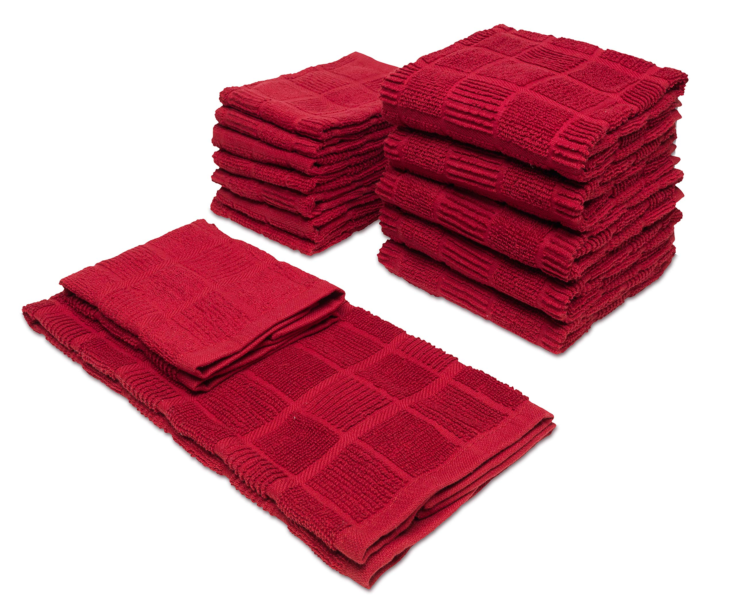 Popular Bath Kitchen Towels and Dish Cloths, Aria Collection, 14-Piece Set, Red by Popular Bath