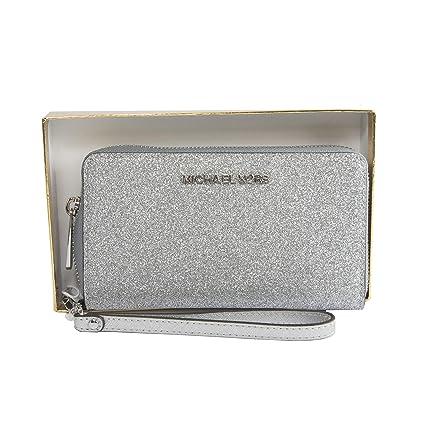 d032f6cb1352 Michael Kors Multi Function Medium Glitter Purse Wallet Wristlet Phone Case  (Silver)  Amazon.co.uk  Luggage