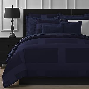 Comfy Bedding Frame Jacquard Microfiber Queen 8-piece Comforter Set, Navy Blue