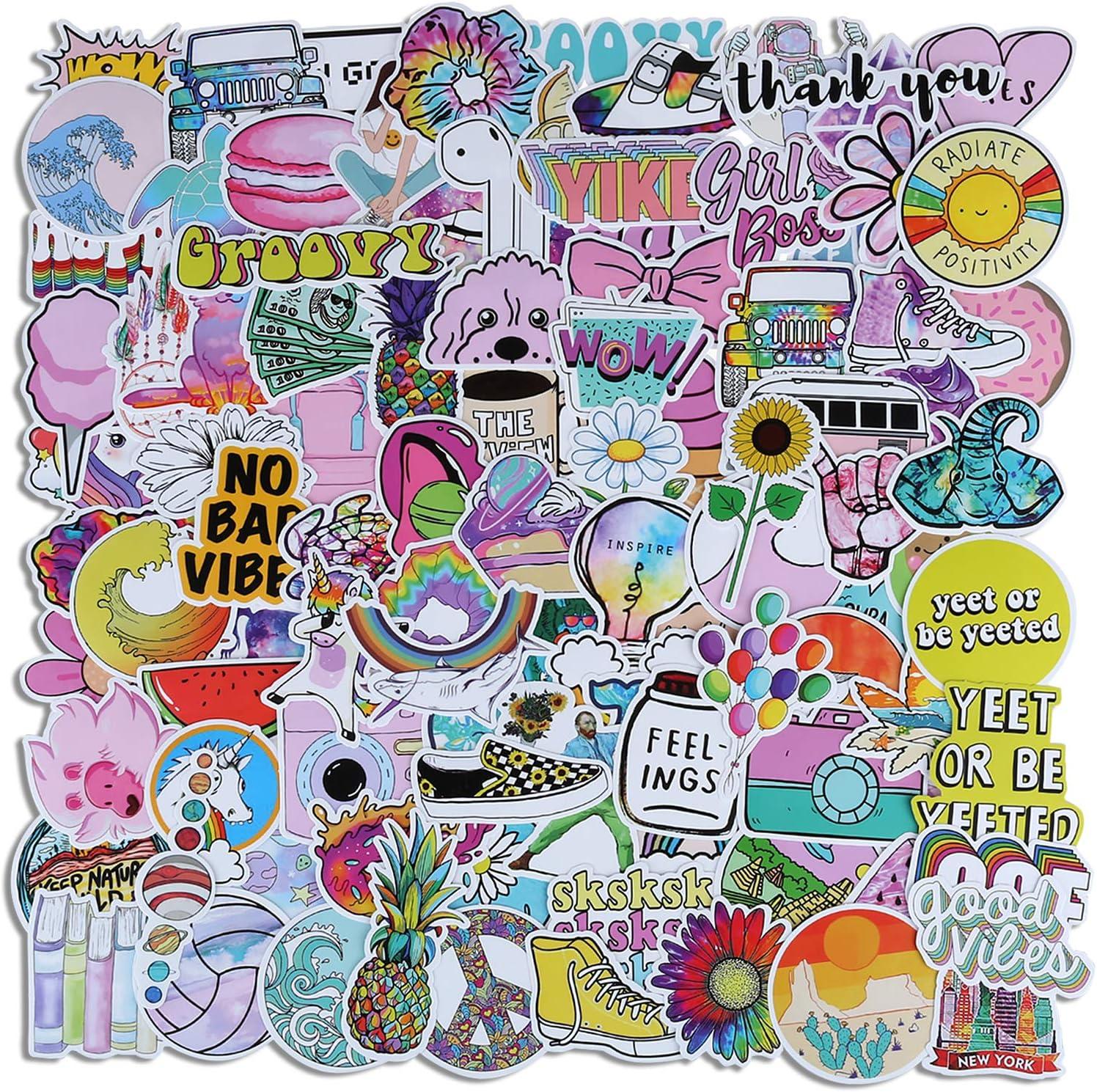 Cute Vsco Stickers for Water Bottles, 100 Pcs Random Pink Vinyl Aesthetic Laptop Stickers, Trendy Cool Graffiti Stickers for Teens Kids Girls.