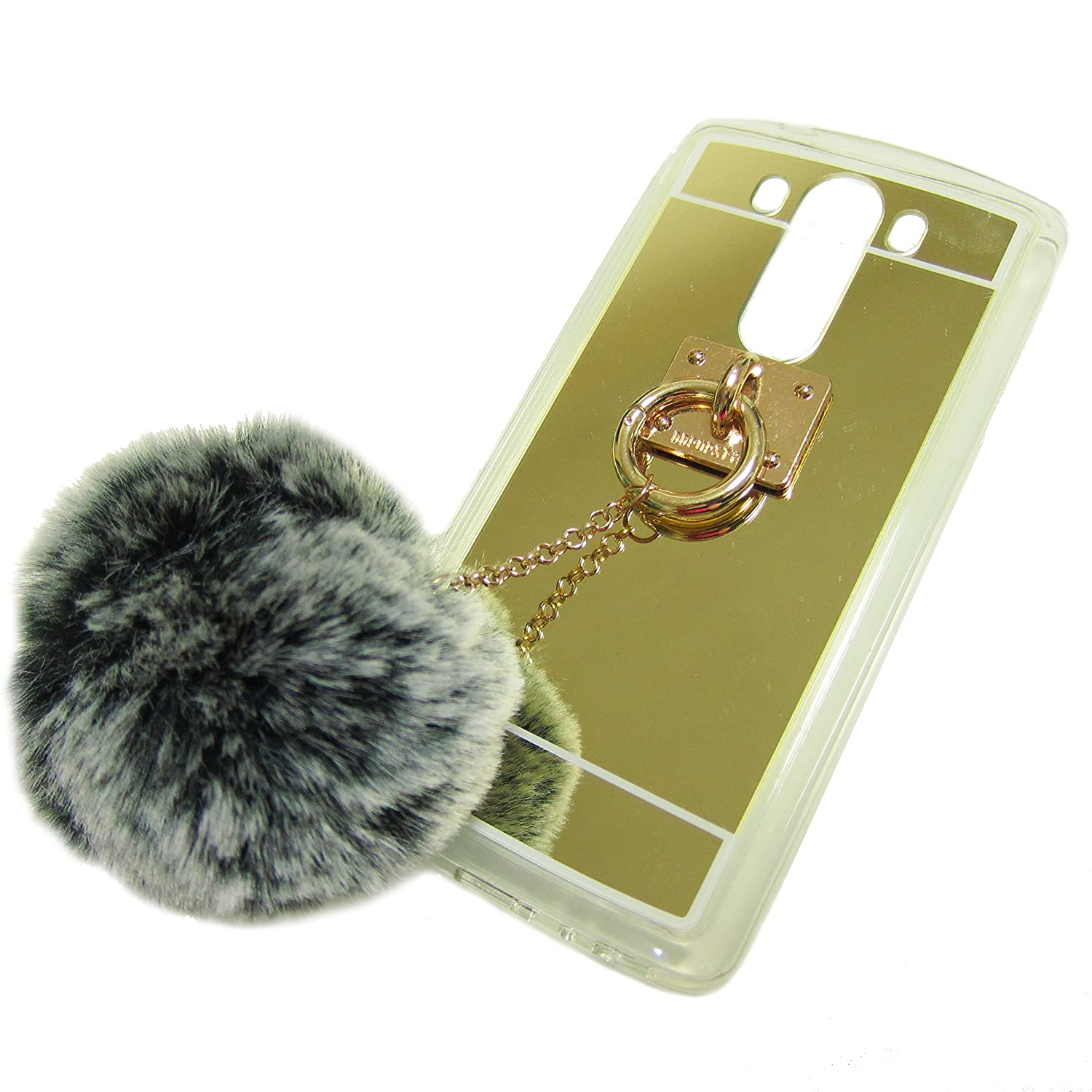 LG G5 Case, LU2000 Fluff Pompom Keychain Furry Cute Bunny Fur Ball [Mirror  Series] Soft Plastic TPU Phone Case Gold Back Cover for LG G5,H868 All