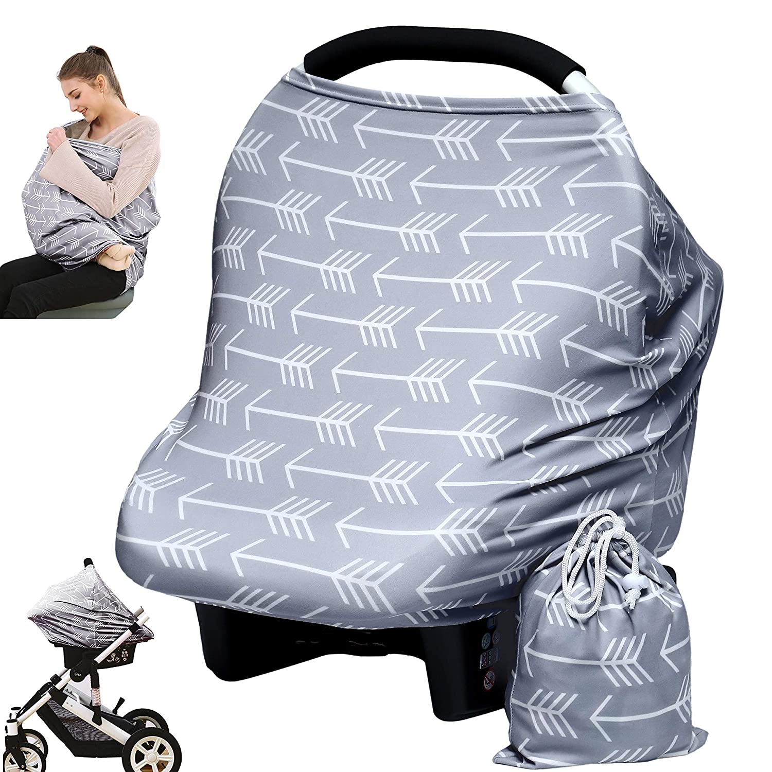 Baby Car Seat Cover canopy nursing and breastfeeding cover (arrows) Hicoco