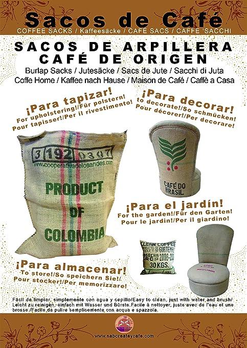 SABOREATE Y CAFE THE FLAVOUR SHOP Telas para Tapizar Saco Grande de Café de Origen Reutilizado para Tapizar de Yute Arpillera 100% Natural (70 cm x1 ...