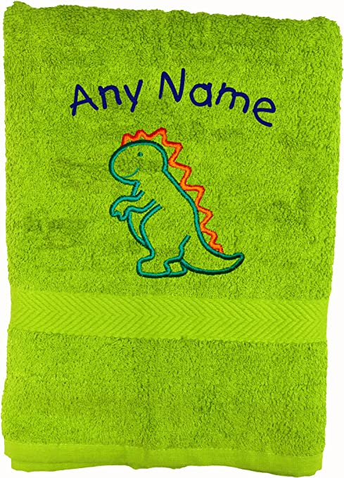 Spoilt Rotten Kids Lime Green T Rex Dinosaur Personalised Bath Towel Any Name Beautifully Embroidered On A 550gsm Towel. Perfect For Holiday,