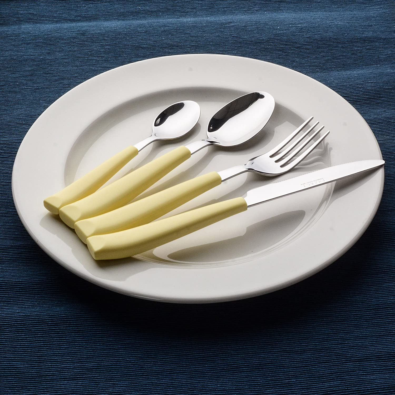 Exzact Juego de cubertería de 16 PCS - Acero Inoxidable con Mangos Anchos de plástico - 4 x Cena tenedors, 4 x Cuchillos, 4 x cucharas Cena, ...