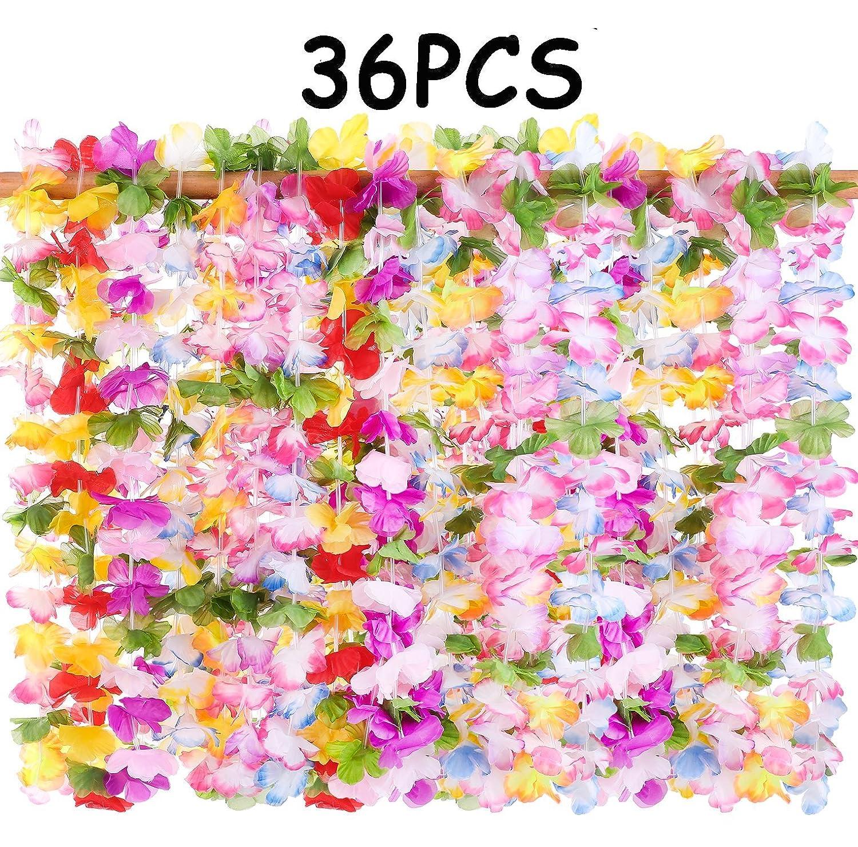Amazon 36pcs Hawaiian Luau Leis Necklaces Tropical Hibiscus
