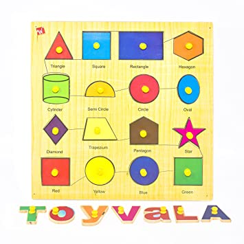 Toyvala Pinewood Wooden Jigsaw Puzzle Board for Kids - Colour and Shape - Learning & Educational Gift for Kids